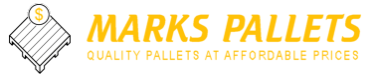 Marks Pallets Company Logo - Gold Text, White and Gold Logo