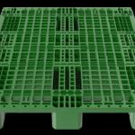 Front 3D Render of Green Stackable Plastic Pallet